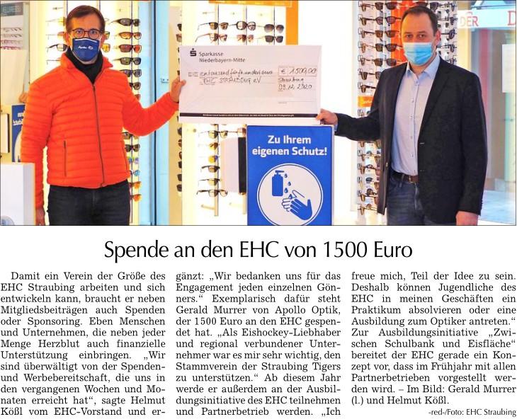 Spende an EHC Straubing e.V.
