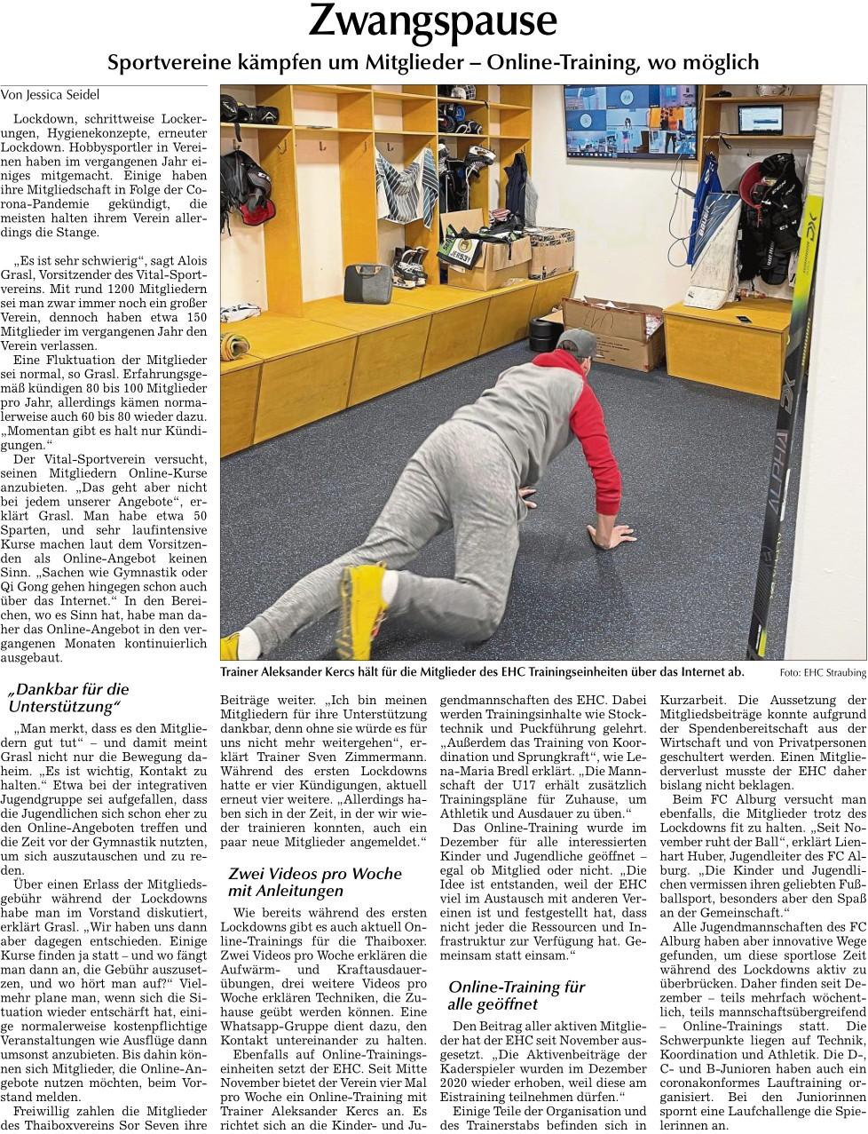 Zwangspause, Berichterstattung Straubinger Tagblatt von Jessica Seidel