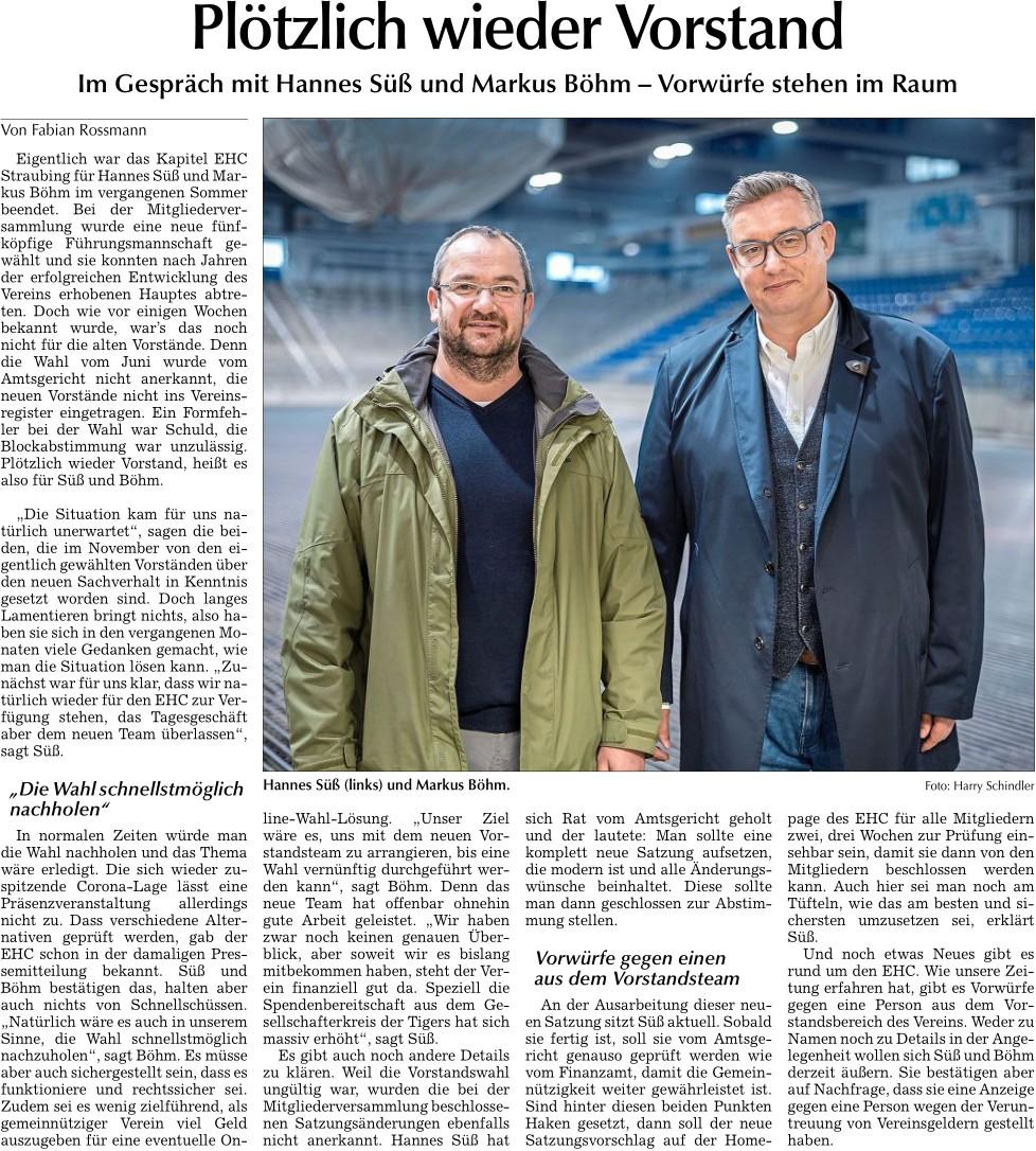 Hannes Süß und Markus Böhm im Zeitungsartikel